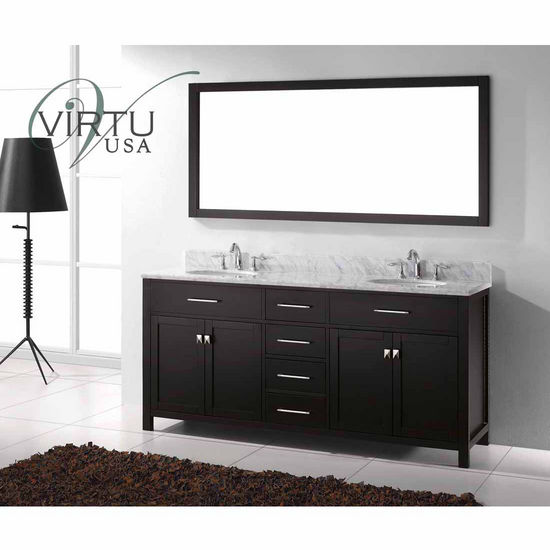 "Virtu 72"" Caroline Double Round Sinks Bathroom Vanity in Espresso with Italian Carrara White Marble (Includes Cabinet, Sink, & Mirror)"