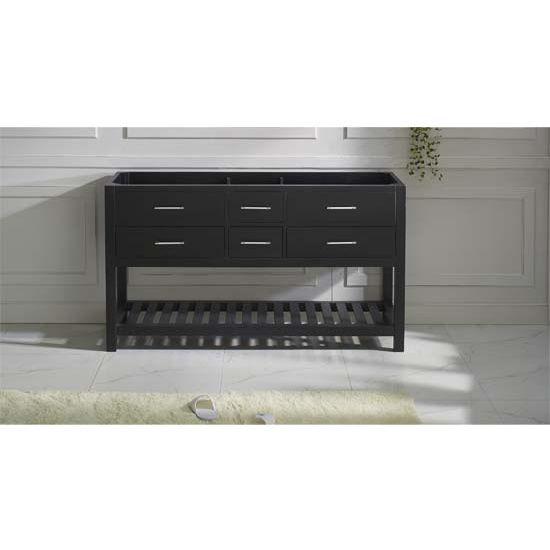 Virtu USA 60'' Caroline Estate Double Sink Cabinet, Espresso