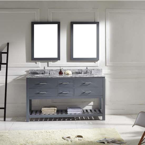 Virtu USA 60'' Caroline Estate Double Round Sinks Bathroom Vanity Set, Grey, Italian Carrara White Marble Countertop, Double Framed Mirrors