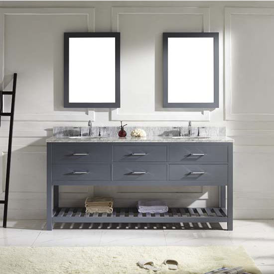 Virtu USA 72'' Caroline Estate Double Round Sinks Bathroom Vanity Set, Grey with Italian Carrara White Marble Countertop