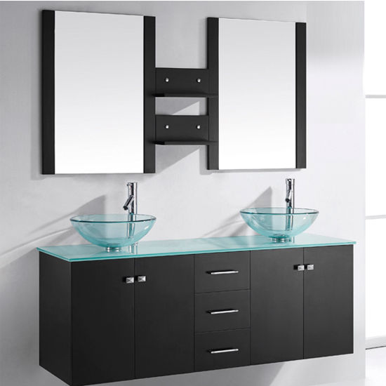 Virtu USA 60'' Clara Espresso Double Vessel Basins, Tempered Glass Countertop Bathroom Vanity Set, Polished Chrome Faucet