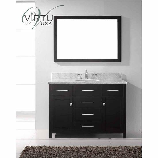 "Virtu 48"" Caroline Single Round Sink Bathroom Vanity in Espresso with Italian Carrara White Marble (Includes Cabinet, Sink, & Mirror)"