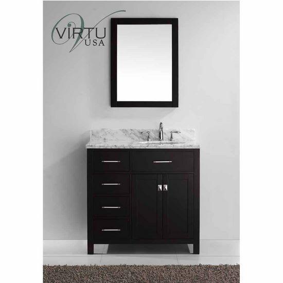 "Virtu 36"" Caroline Parkway Single Round Sink Bathroom Vanity in Espresso with Italian Carrara Marble - Left (Includes Cabinet, Sink, & Mirror)"