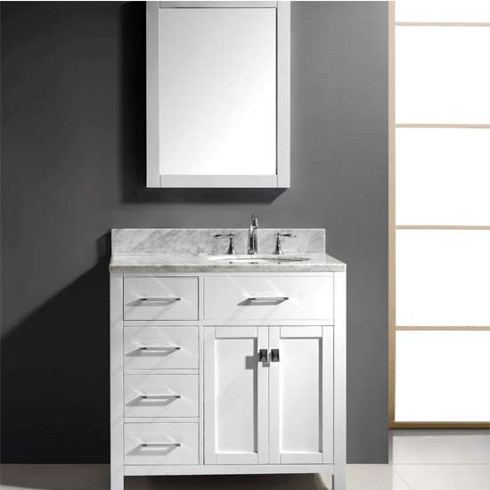 Bathroom vanities 36 39 39 caroline parkway left or right drawers single sink cabinet in multiple for 36 bathroom vanity left hand drawers