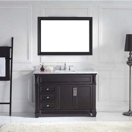 Virtu USA 48'' Victoria Single Round Sink Bathroom Vanity Set, Espresso, Italian Carrara White Marble Countertop