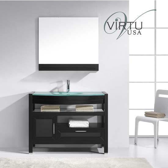 Virtu USA 43'' Lana Espresso Single Basin Tempered Glass Countertop Bathroom Vanity Set, Polished Chrome Faucet