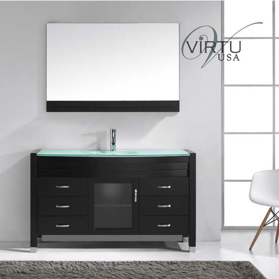 Virtu USA 55'' Ava Espresso Single Basin Tempered Glass Countertop Bathroom Vanity Set, Polished Chrome or Brushed Nickel Faucet