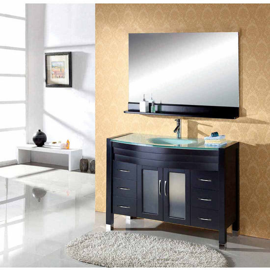 "Virtu 48"" Ava Single Sink Bathroom Vanity in Espresso with Tempered Glass (Includes Cabinet, Sink, Faucet, & Mirror)"