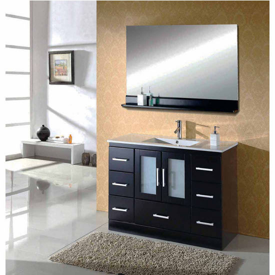 """Virtu 48"""" Zola Single Sink Bathroom Vanity in Espresso with Ceramic(Includes Cabinet, Sink, Faucet, & Mirror)"""