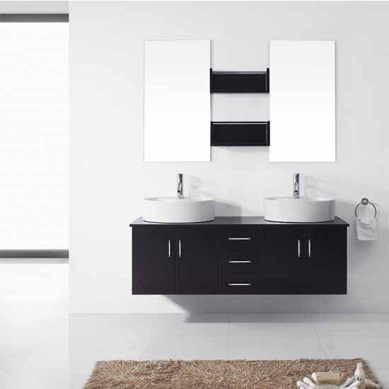 Virtu USA 59'' Enya Espresso Double Sink Bathroom Vanity Set, Brushed Nickel or Polished Chrome Faucet