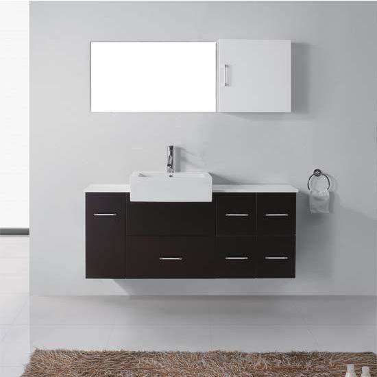 Virtu USA 55'' Hazel Single Sink Bathroom Vanity Set, Espresso, Polished Chrome Faucet