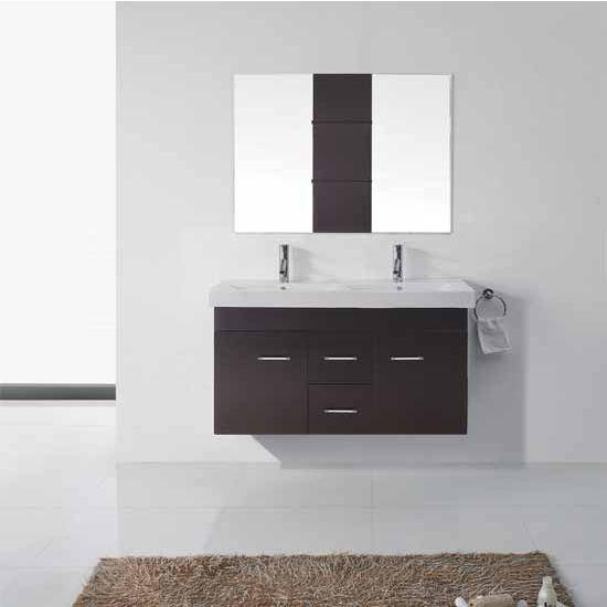 Virtu USA 48'' Opal Espresso Double Sink Bathroom Vanity Set, Brushed Nickel or Polished Chrome Faucet