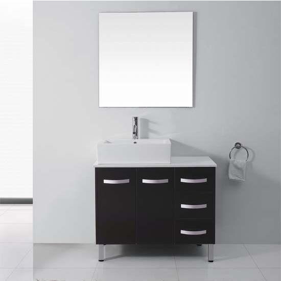 Virtu USA 40'' Tilda Single Sink Bathroom Vanity Set, Espresso, Polished Chrome Faucet