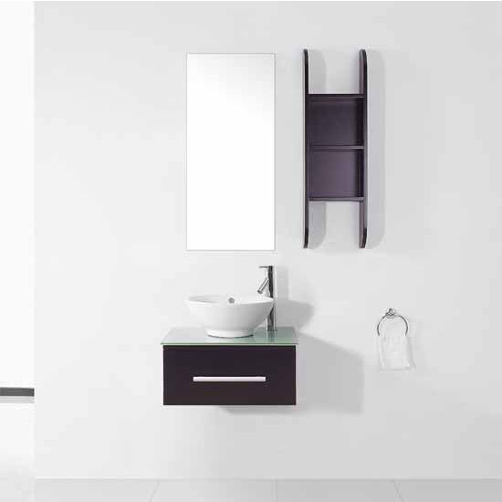Virtu USA 24'' Primo Espresso Single Sink Bathroom Vanity Set, Tempered Glass Countertop, Brushed Nickel or Polished Chrome Faucet