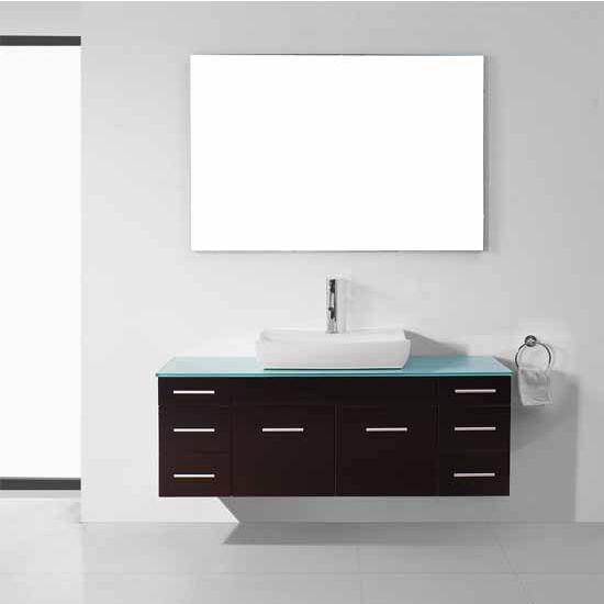 Virtu USA 56'' Biagio Espresso Single Sink Bathroom Vanity Set, Tempered Glass Countertop, Brushed Nickel or Polished Chrome Faucet