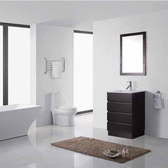 Virtu USA 24'' Bruno Espresso Single Sink Bathroom Vanity Set, Brushed Nickel or Polished Chrome Faucet