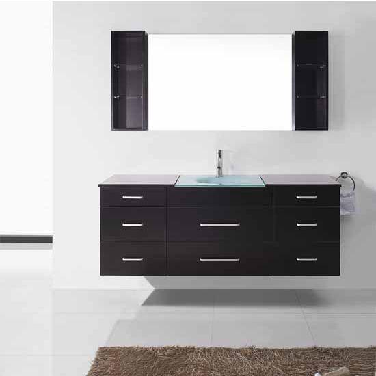 Virtu USA 59'' Columbo Espresso Single Sink Bathroom Vanity Set, Brushed Nickel or Polished Chrome Faucet