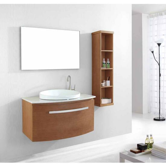 "Virtu Anabelle 40"" Single Sink Bathroom Vanity Set, Chestnut"