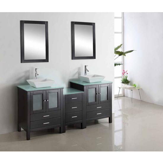 """Virtu Brentford 72"""" Double Sink Bathroom Vanity, Espresso"""