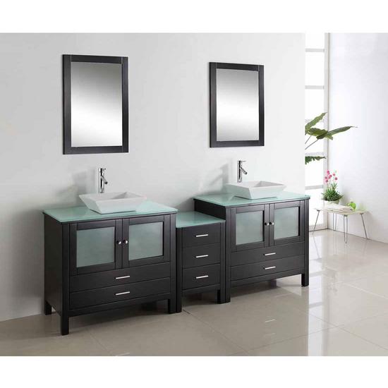 """Virtu Brentford 90"""" Double Sink Bathroom Vanity, Espresso"""
