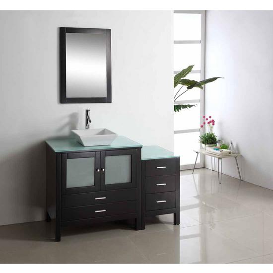 """Virtu Brentford 54"""" Single Sink Bathroom Vanity, Espresso"""