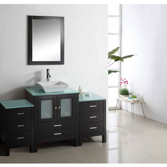 "Virtu Brentford 63"" Single Sink Bathroom Vanity, Espresso"