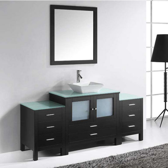 "Virtu Brentford 71"" Single Sink Bathroom Vanity, Espresso"