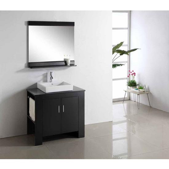 "Virtu Tavian 36"" Single Sink Bathroom Vanity with Left Side Towel Rack, Espresso"