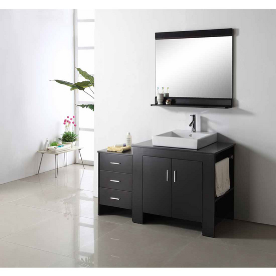 "Virtu Tavian 54"" Single Sink Bathroom Vanity with Right Side Towel Rack, Espresso"