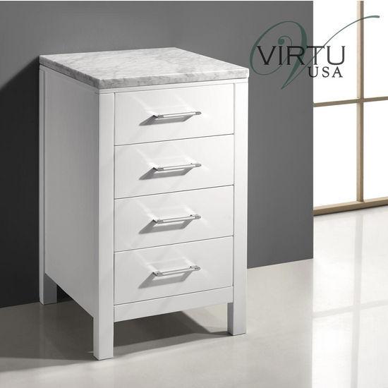 "Virtu 20"" Caroline Parkway Vanity Side Cabinet in White with Italian Carrara White Marble"