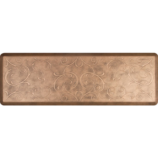 WellnessMats 6'x2' Estates Collection Essential Series Bronze Color Floor Mats with Bella Pattern, 72'' W x 24'' D x 3/4'' H
