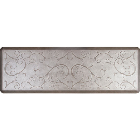 WellnessMats 6'x2' Estates Collection Essential Series Silver Leaf Color Floor Mats with Bella Pattern, 72'' W x 24'' D x 3/4'' H