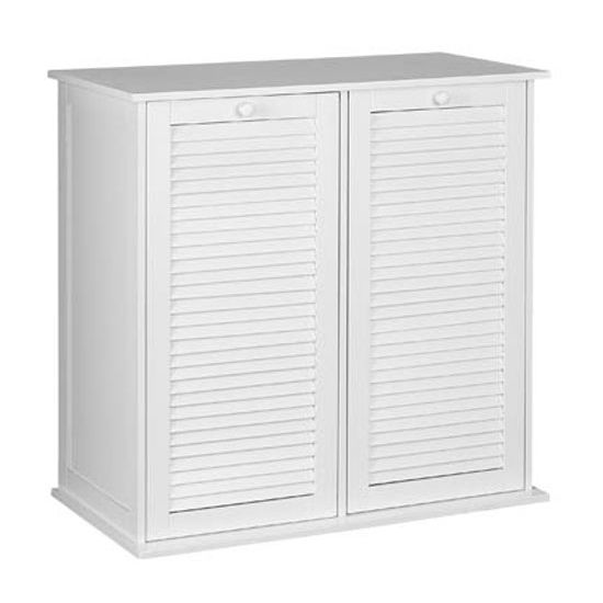 Household Essentials Tilt Out Shutter Front Cabinet Sorter with 2 Lift Out Bags in White