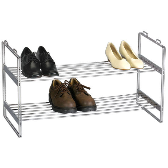 Household Essentials Stackable 2-Tier Shoe Rack in Chrome