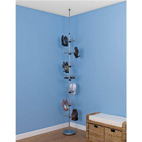 Household Essentials Floor To Ceiling Shoe Tree/6 Carousels-1 Basket in Silver