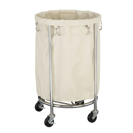 Household Essentials Heavy Duty Round Laundry Cart in Chrome