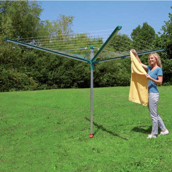 Household Essentials Linomatic 500 Deluxe 164' Drying Umbrella Clothesline in Stainless/Green