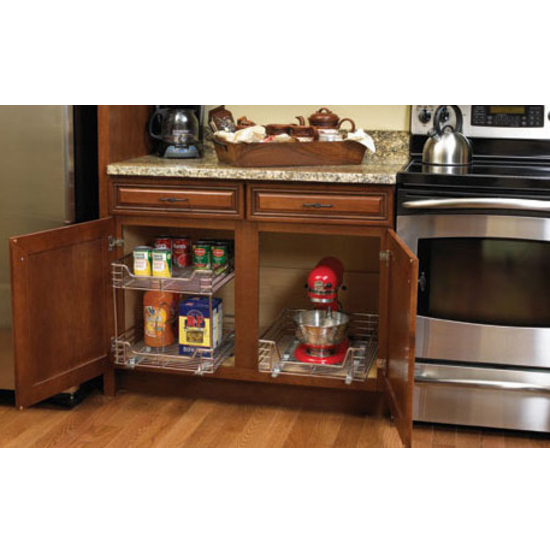 Kitchen Base Cabinet 11-1/2'' Wide Two-Tier Pull-Out Baskets By Household Essentials