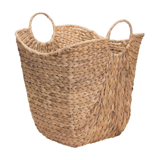 Household Essentials Tall Basket W/Handles/Wire Frame in Seagrass
