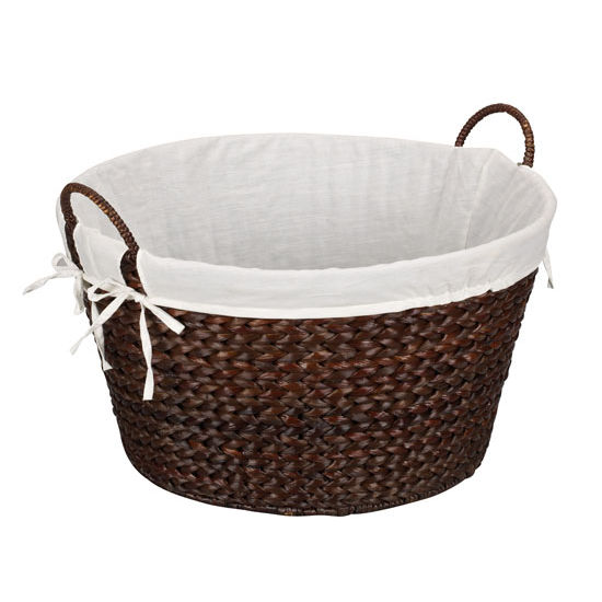 Household Essentials Round Laundry Basket in Stained Dark Banana Leaf