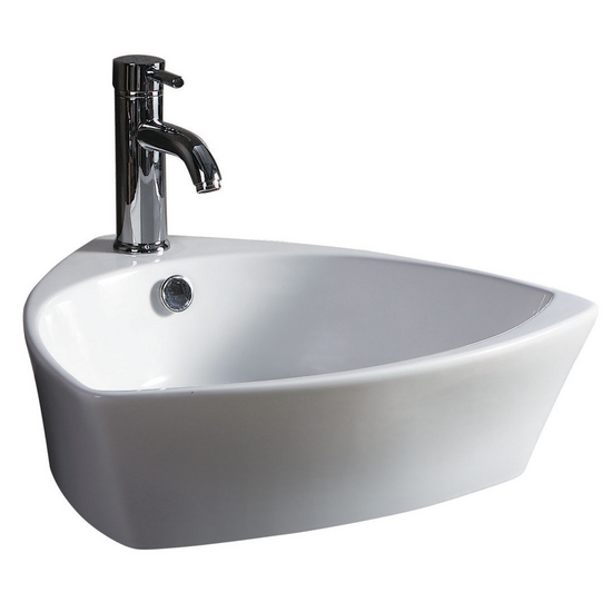 Wells Sinkware China Luxe Collection- Geometrix White Above Counter Bathroom Sink
