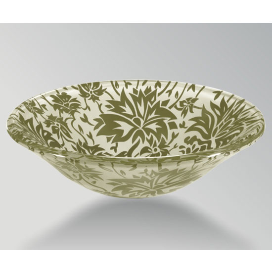 Wells Sinkware Art Glass Vessels - Damask Remix, Spring Above Counter/ Partial Recess Bathroom Sink