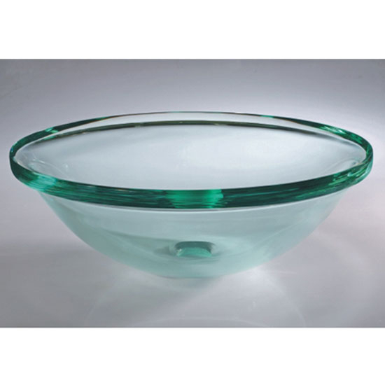 Wells Sinkware Art Glass Vessels - Glacier, Crystal Clear Thick Rim Above Counter/ Partial Recess Bathroom Sink