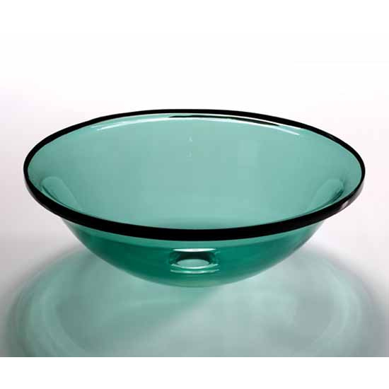 Wells Sinkware Art Glass Vessels - Sheer Color, Persian Green Above Counter/ Partial Recess Bathroom Sink