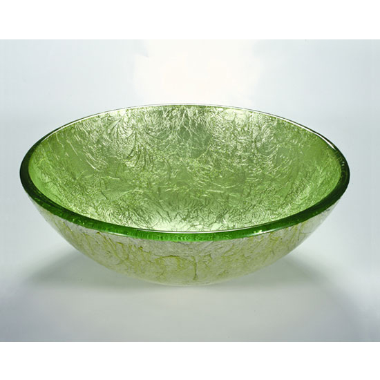 Wells Sinkware Art Glass Vessels - Metallic, Lime Green on Silver Above Counter Bathroom Sink