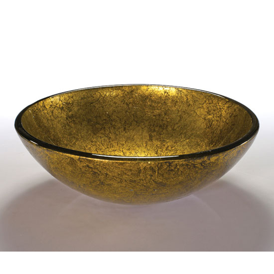 Wells Sinkware Art Glass Vessels - Metallic, Gold Mine Above Counter Bathroom Sink