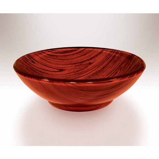 Wells Sinkware Art Glass Vessels - Glass Mahogany Raised Bottom Rim Round Above Counter Bathroom Sink