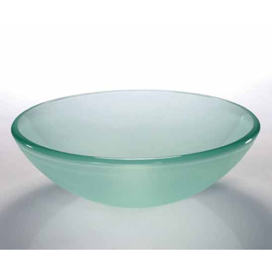 Wells Sinkware Art Glass Vessels - Glacier, Crystal Clear Frosted Above Counter/ Partial Recess Bathroom Sink