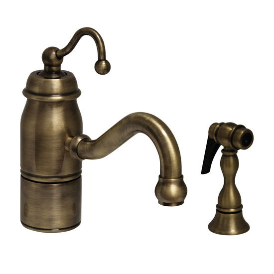 Traditional Curved Swivel Spout with Curved Handle & Solid Brass Spray