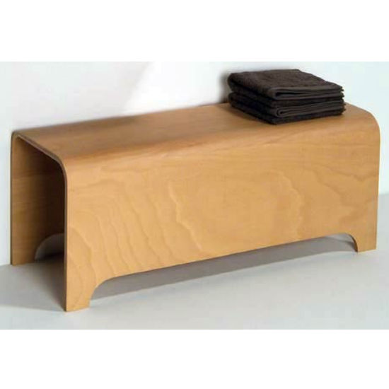 "Whitehaus Aeri Large Ebody Wood Bathroom Stool/Bench 39-3/8"" W x 15"" D x 15-3/4"" H"